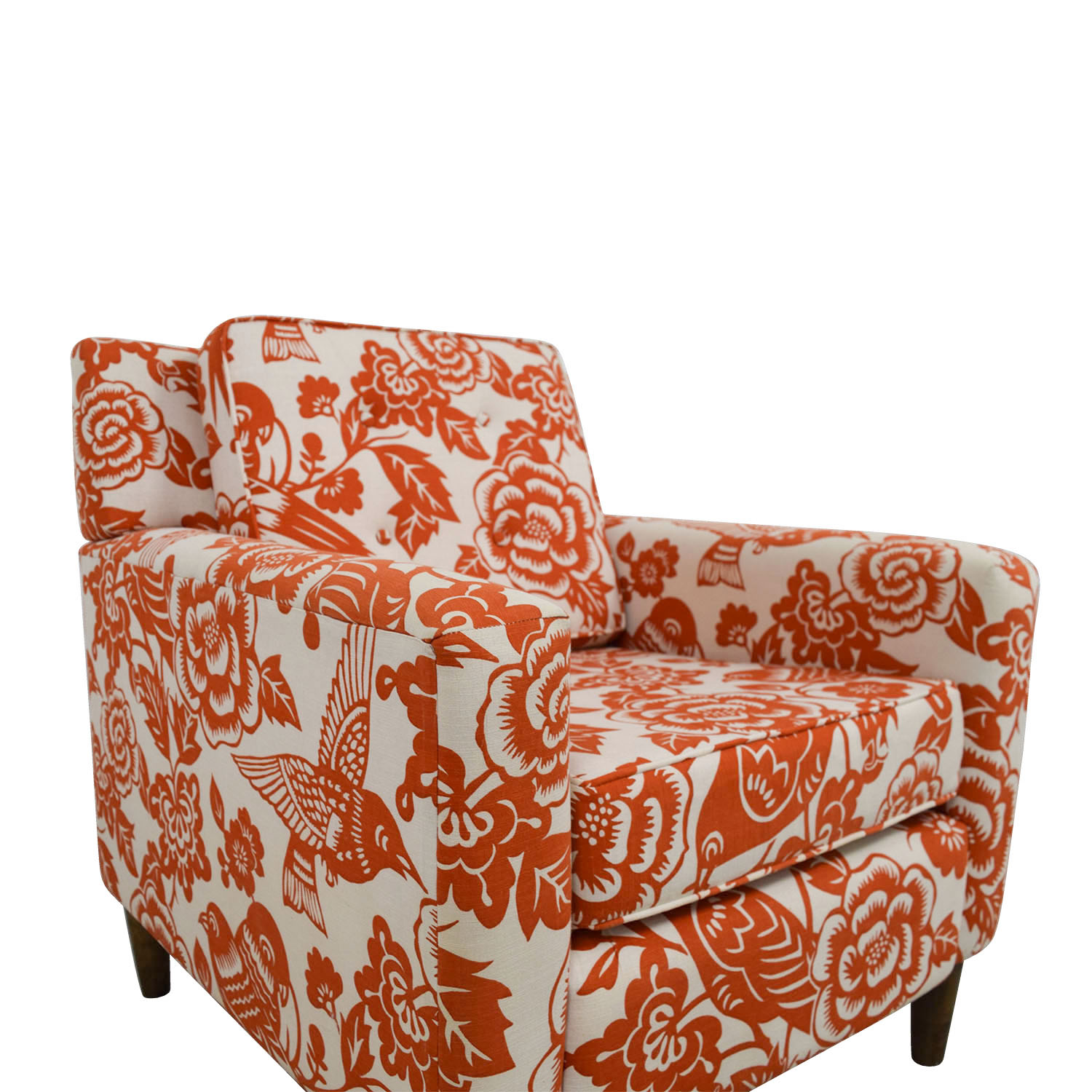 Beautiful ... Orange Floral Accent Armchair Used
