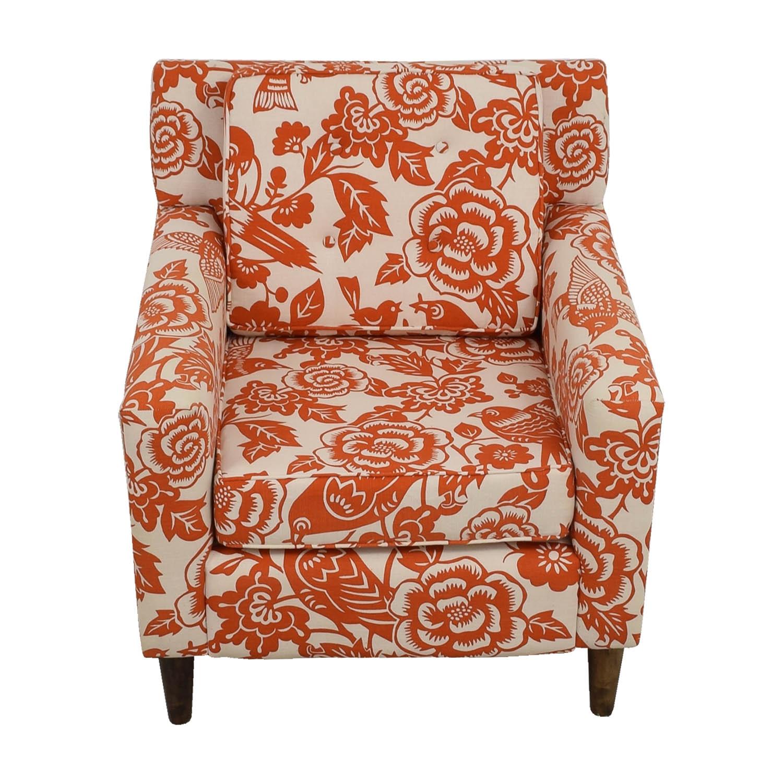 Orange Floral Accent Armchair price