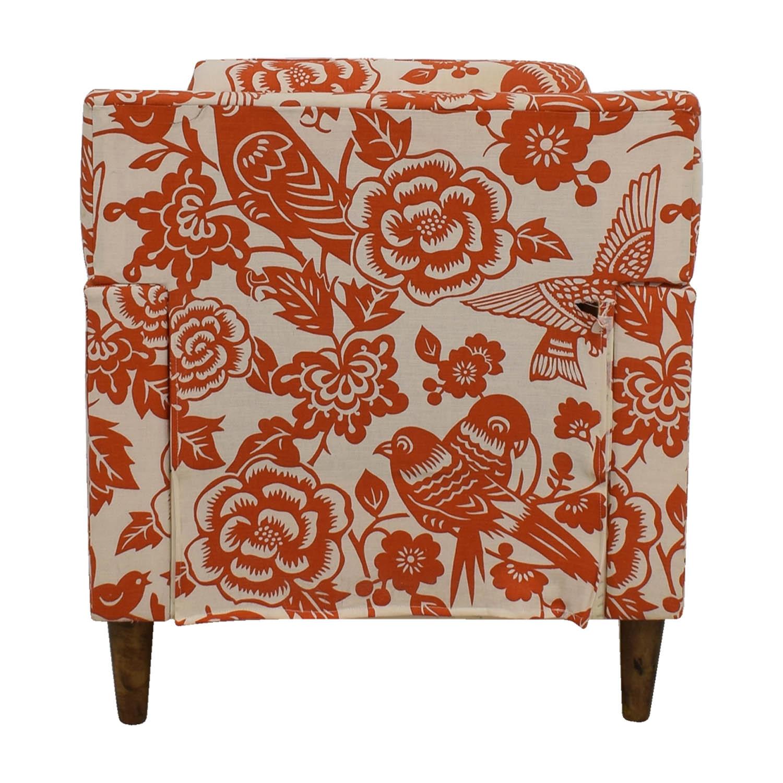 Orange Floral Accent Armchair dimensions