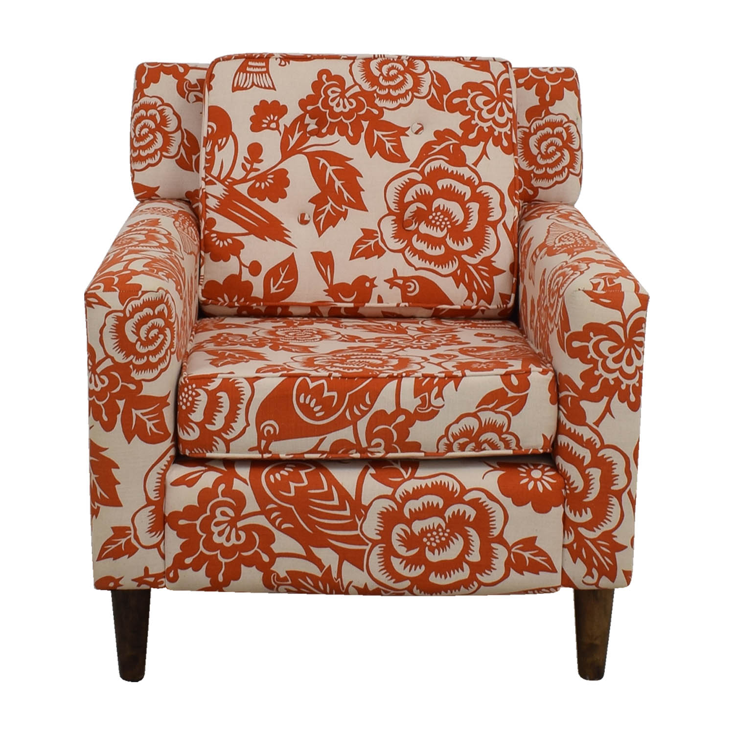 Orange Floral Accent Armchair sale ...  sc 1 st  Furnishare & 90% OFF - Orange Floral Accent Armchair / Chairs