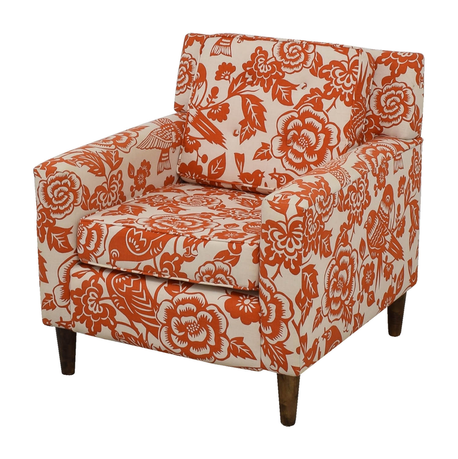 Orange Floral Accent Armchair Accent Chairs