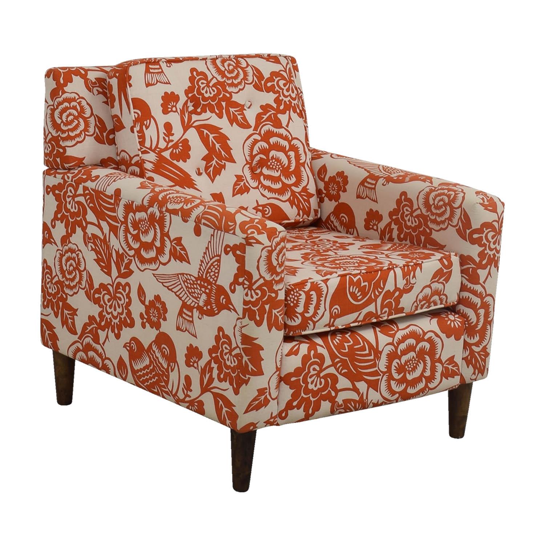 shop Orange Floral Accent Armchair Chairs