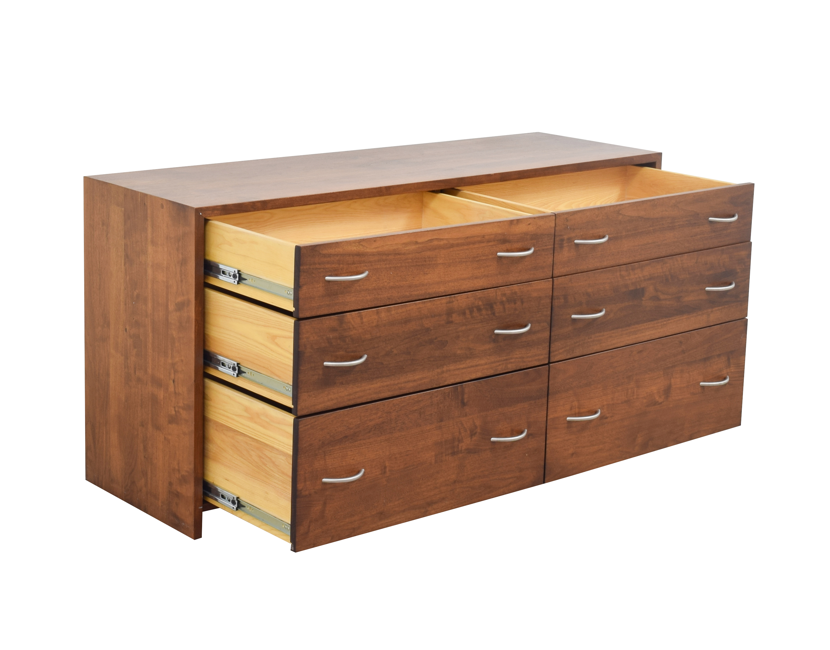 Custom Oak Six-Drawer Dresser Dark Wood