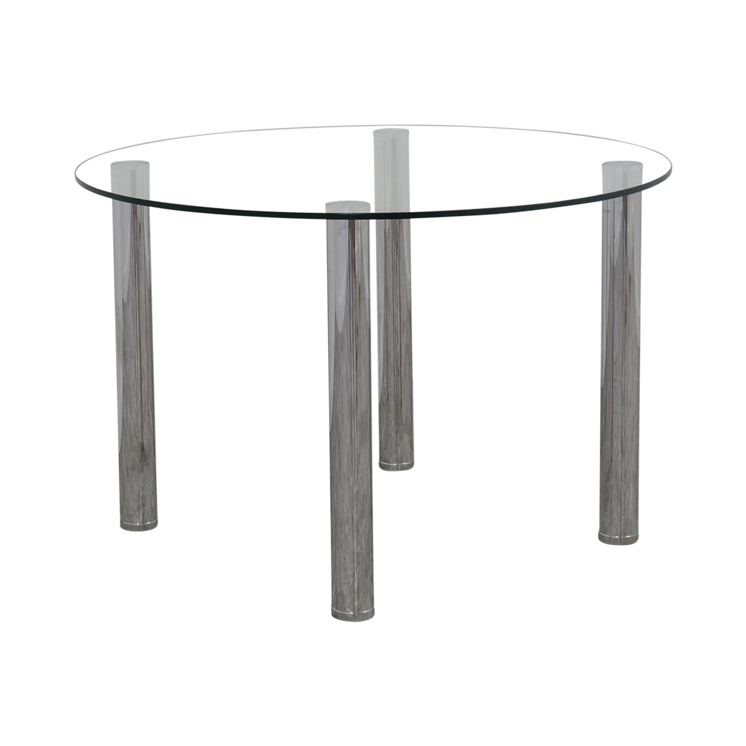 90 off round glass and chrome table tables. Black Bedroom Furniture Sets. Home Design Ideas