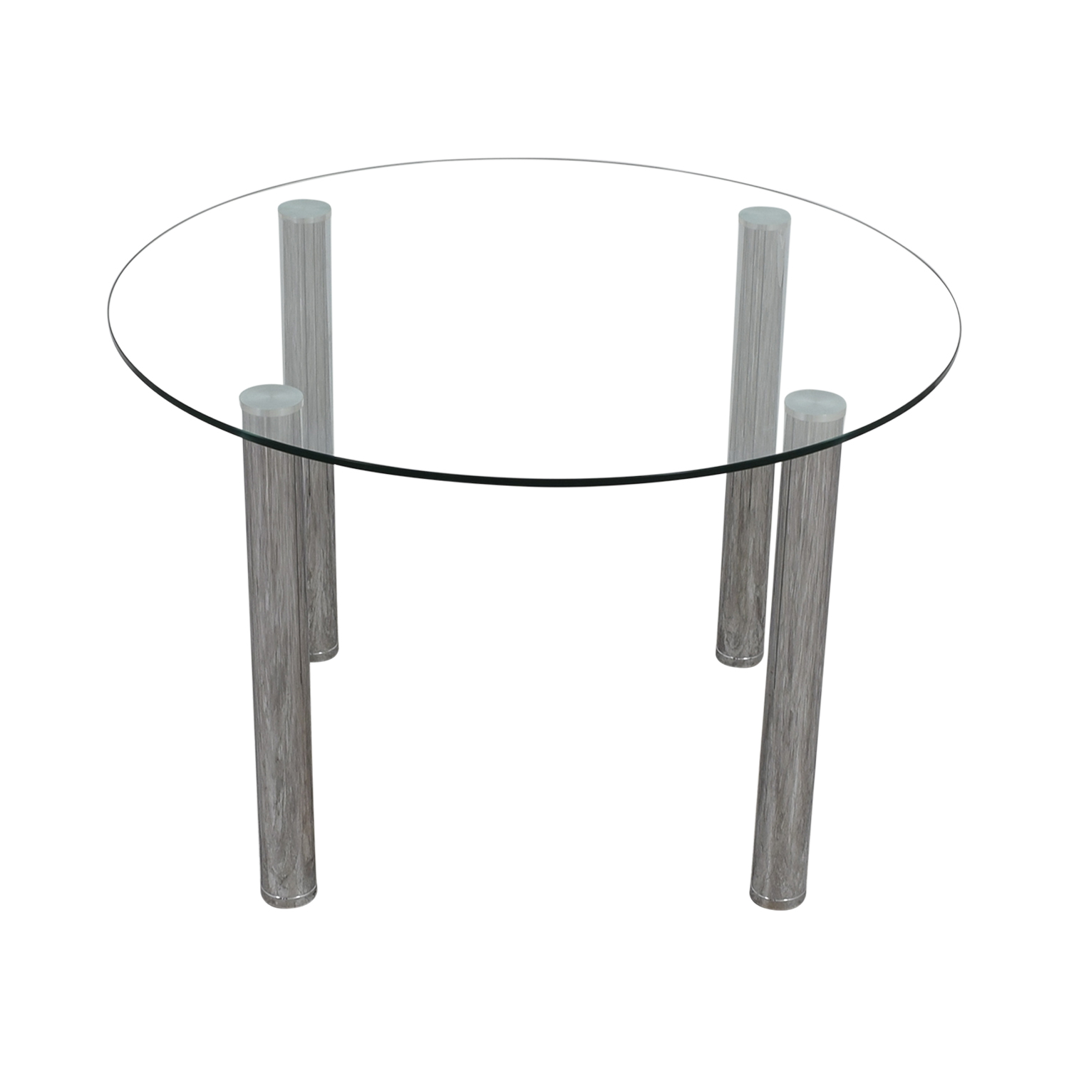 Round Glass and Chrome Table for sale