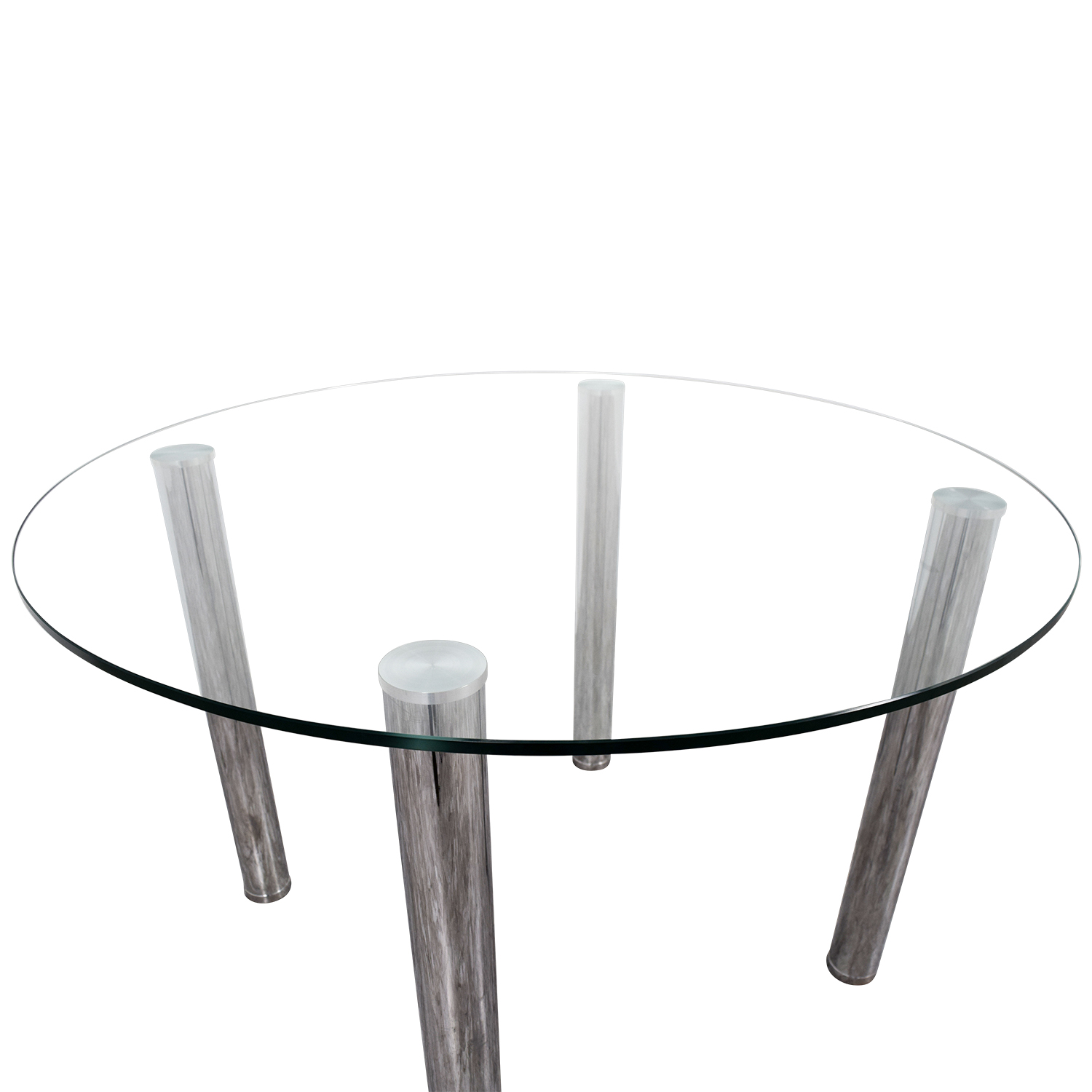 Round Glass and Chrome Table / Tables