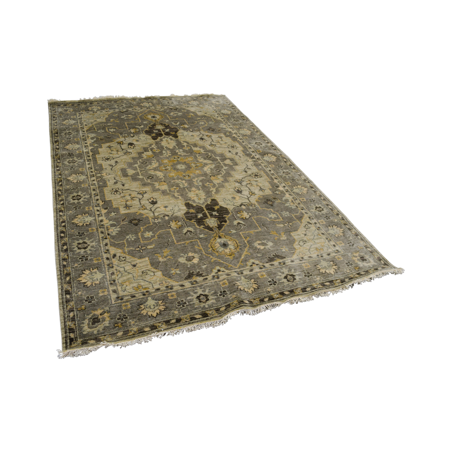 shop Obeetee Hand Knotted Gray Wool Rug Obeetee