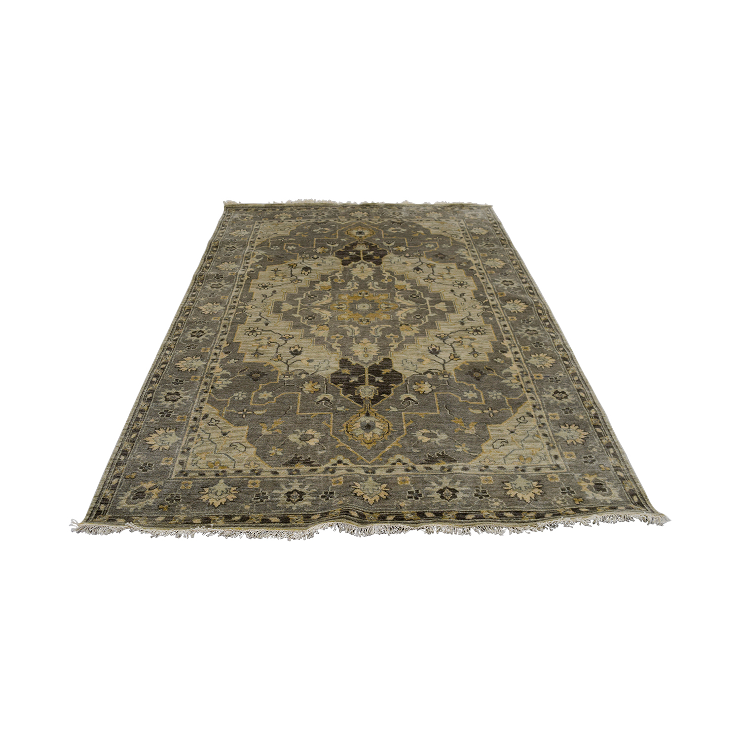 Obeetee Obeetee Hand Knotted Gray Wool Rug