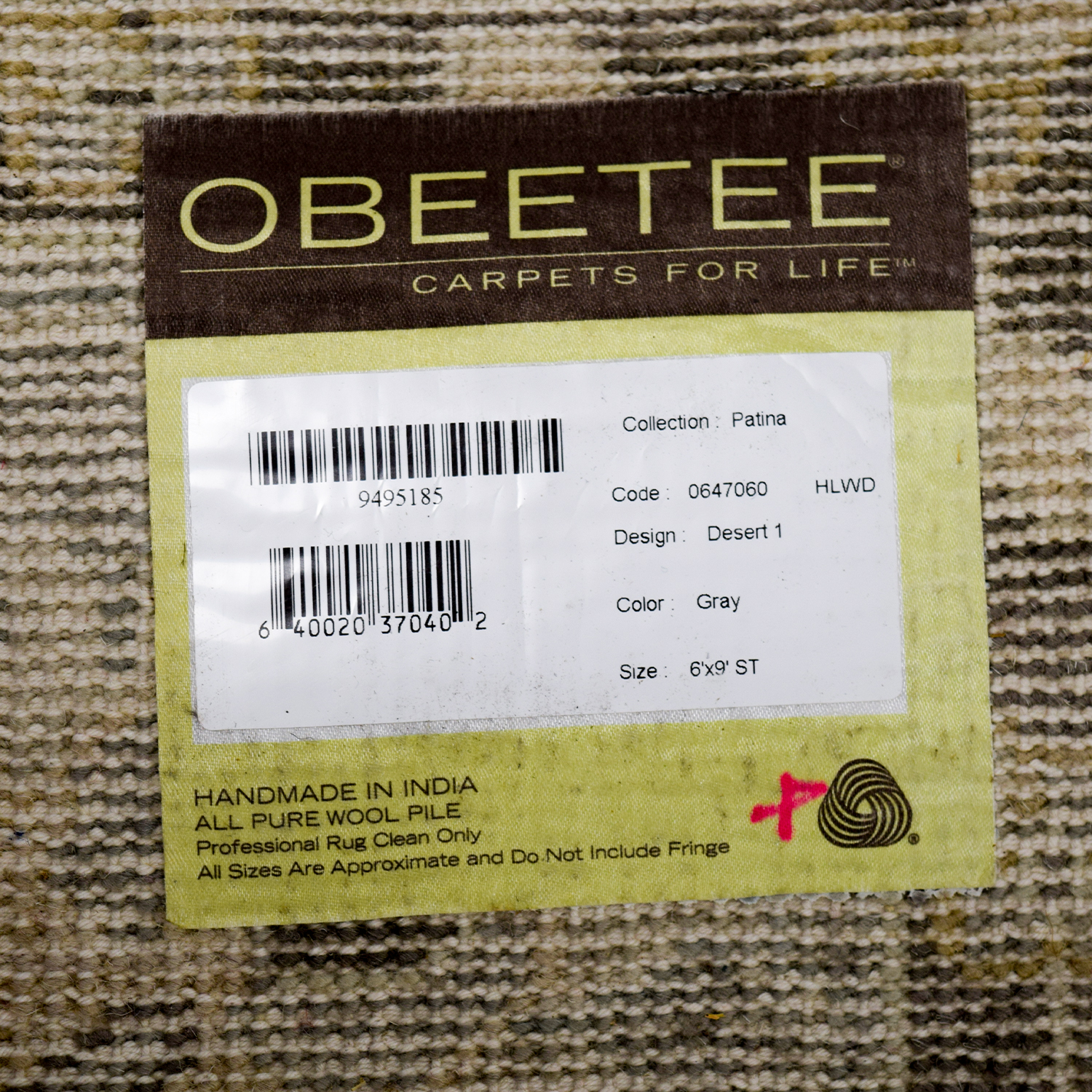 Obeetee Obeetee Hand Knotted Gray Wool Rug price
