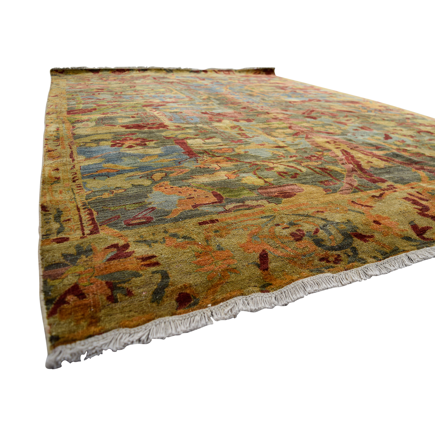 buy Obeetee Obeetee Hand Knotted Red and Green Floral Wool Rug online