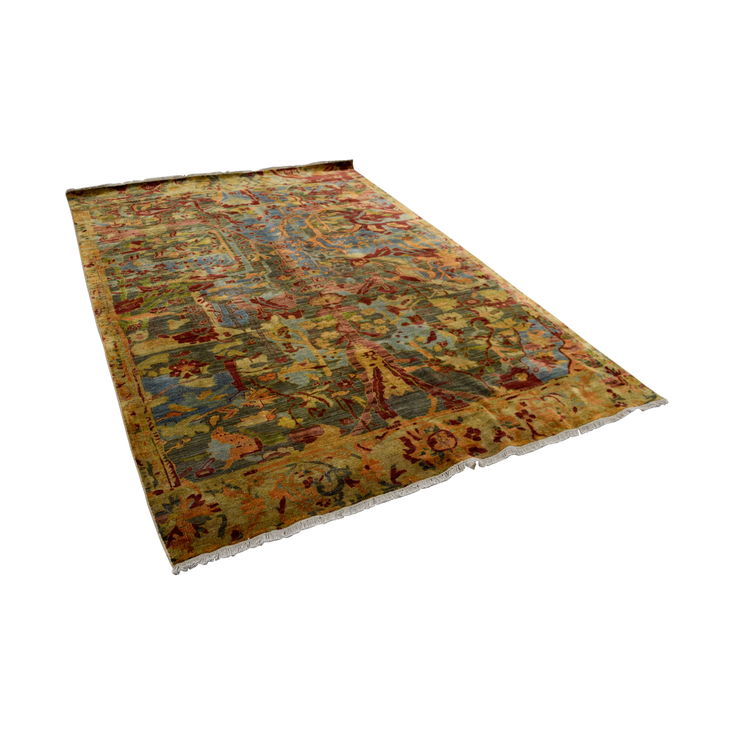 Obeetee Obeetee Hand Knotted Red and Green Floral Wool Rug used