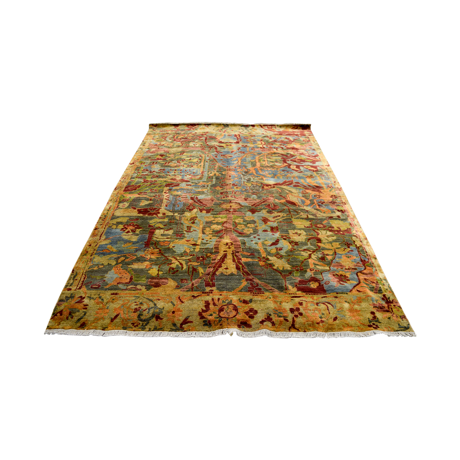 shop Obeetee Hand Knotted Red and Green Floral Wool Rug Obeetee