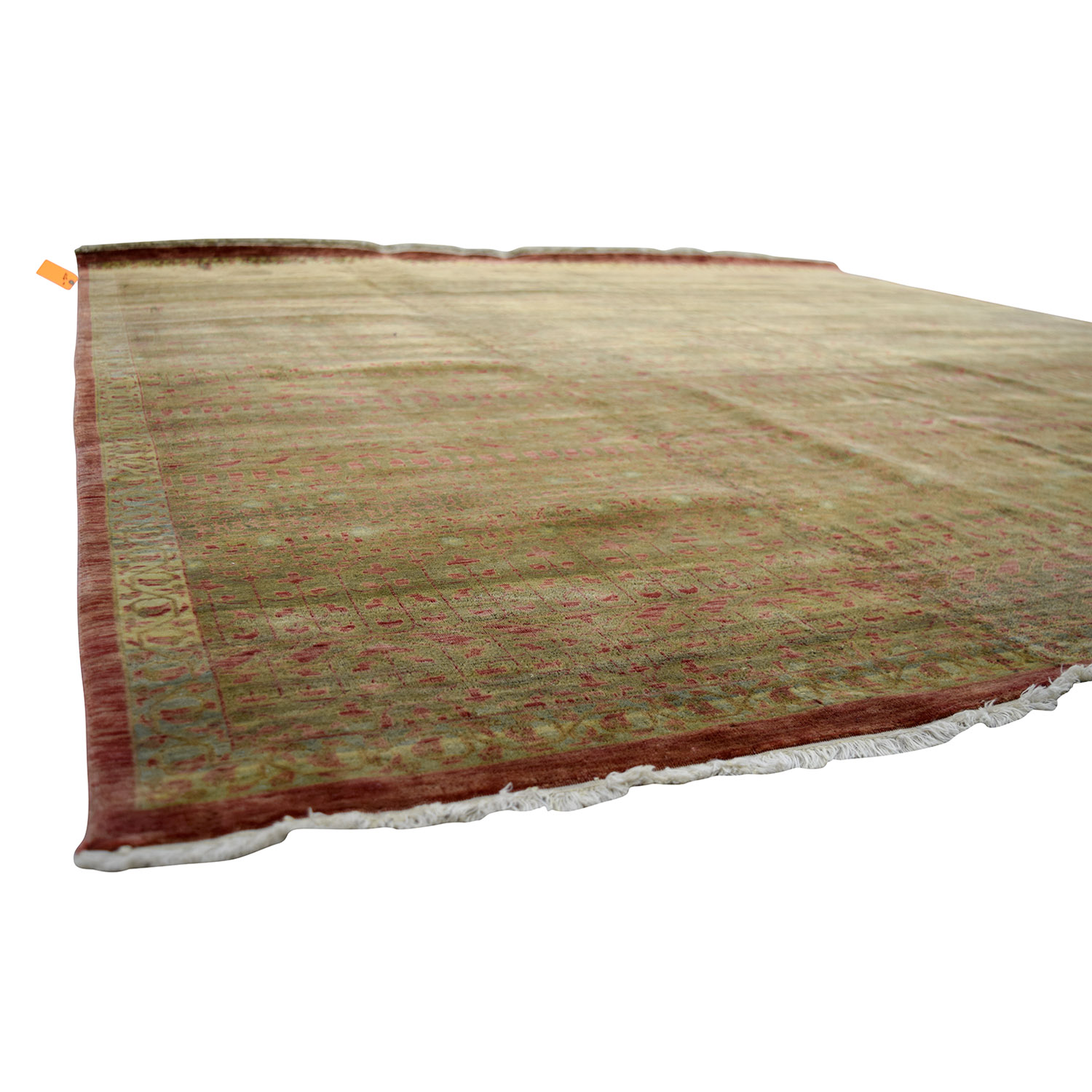 buy Obeetee Hand Knotted Brown and Red Wool Rug Obeetee