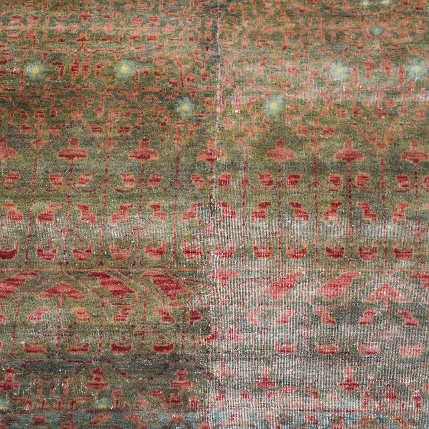 Obeetee Hand Knotted Brown and Red Wool Rug sale