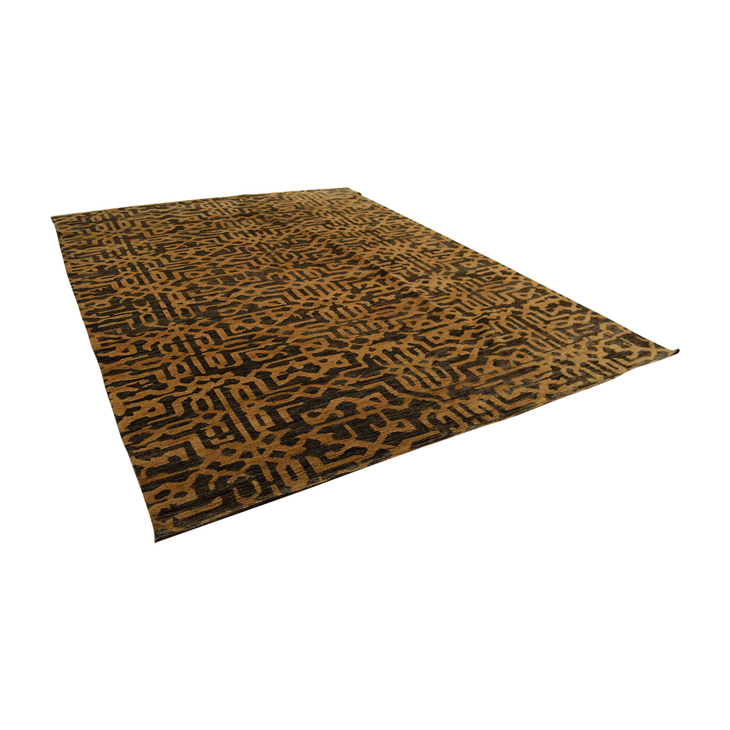 Obeetee Obeetee Hand Knotted Brown and Tan Wool Rug nj