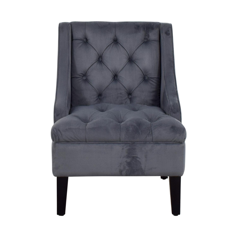 Abbyson Furniture Abbyson Furniture Grey Microsuede Tufted Arm Chair nj