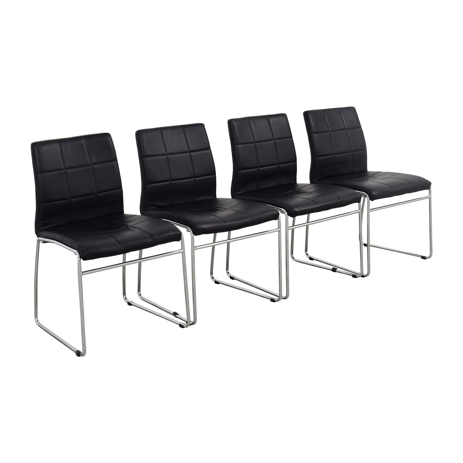 Black Leather Dining Chairs / Chairs