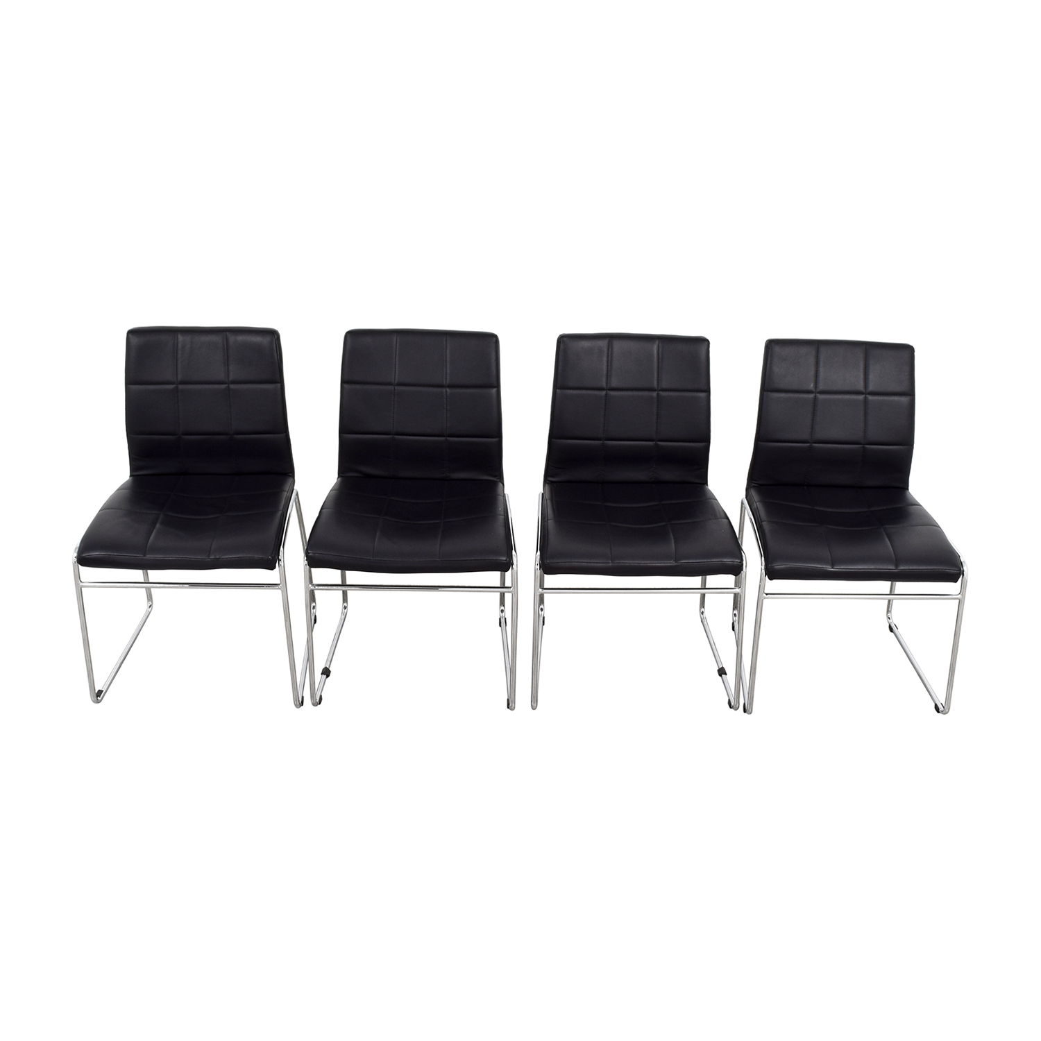 Black Leather Dining Chairs sale