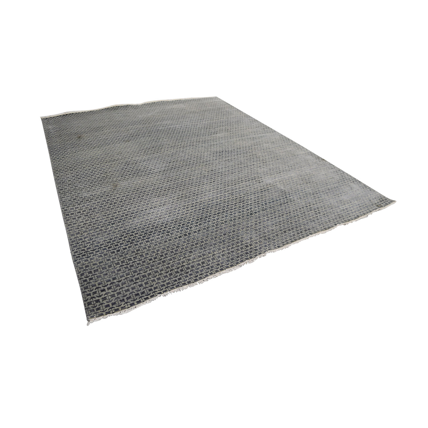 Obeetee Obeetee Hand Knotted Blue Grey Wool Rug Rugs