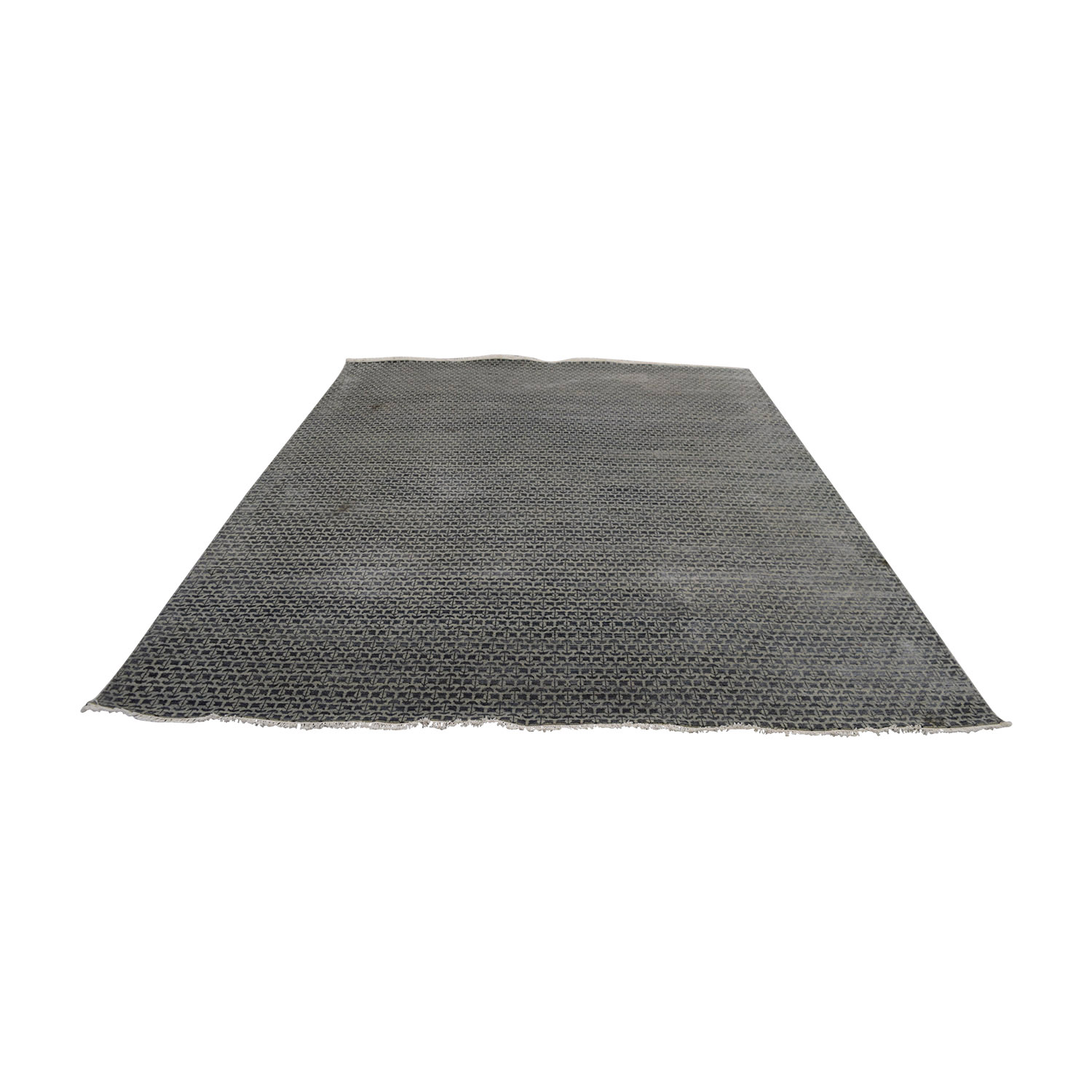 shop Obeetee Hand Knotted Blue Grey Wool Rug Obeetee