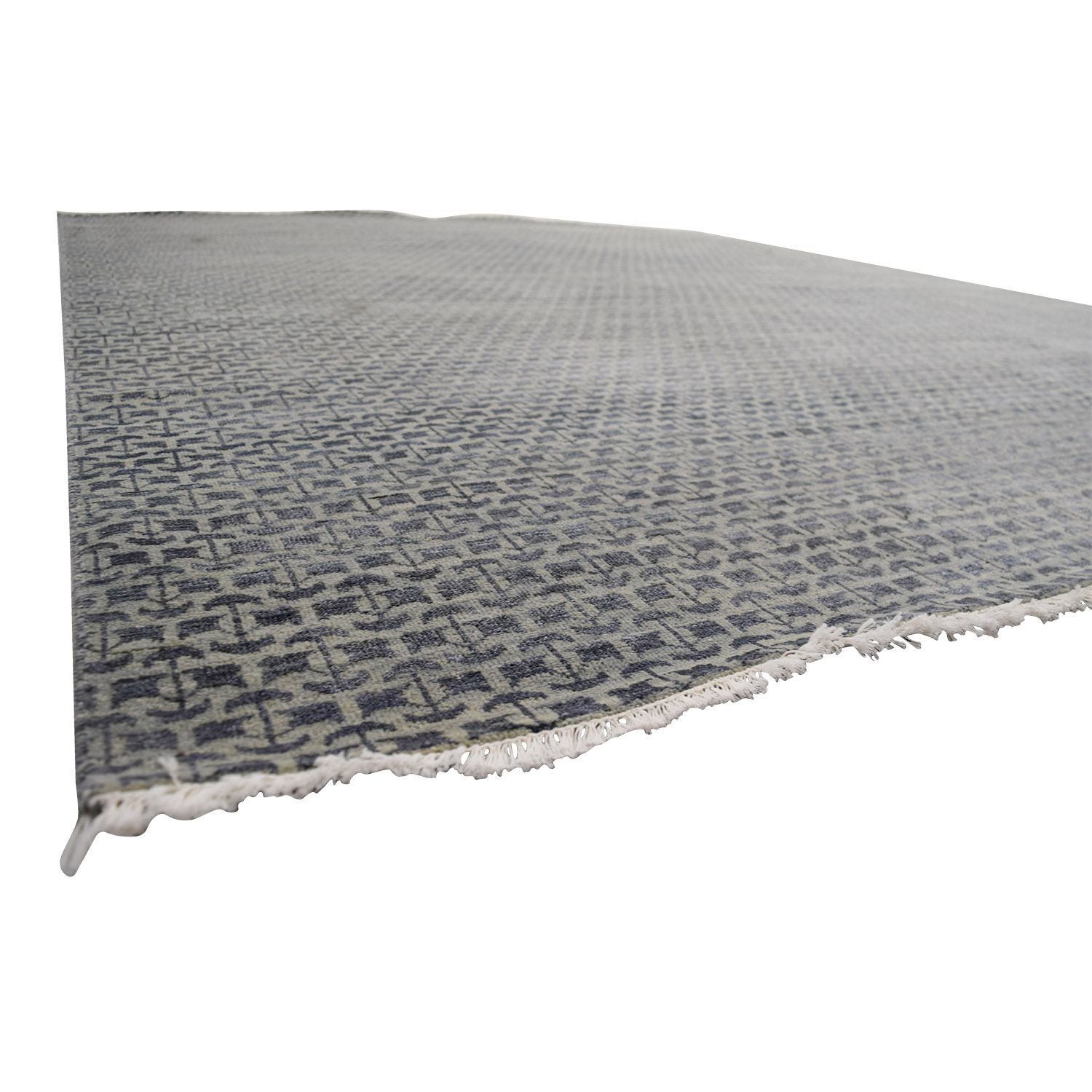shop Obeetee Hand Knotted Blue Grey Wool Rug Obeetee Rugs