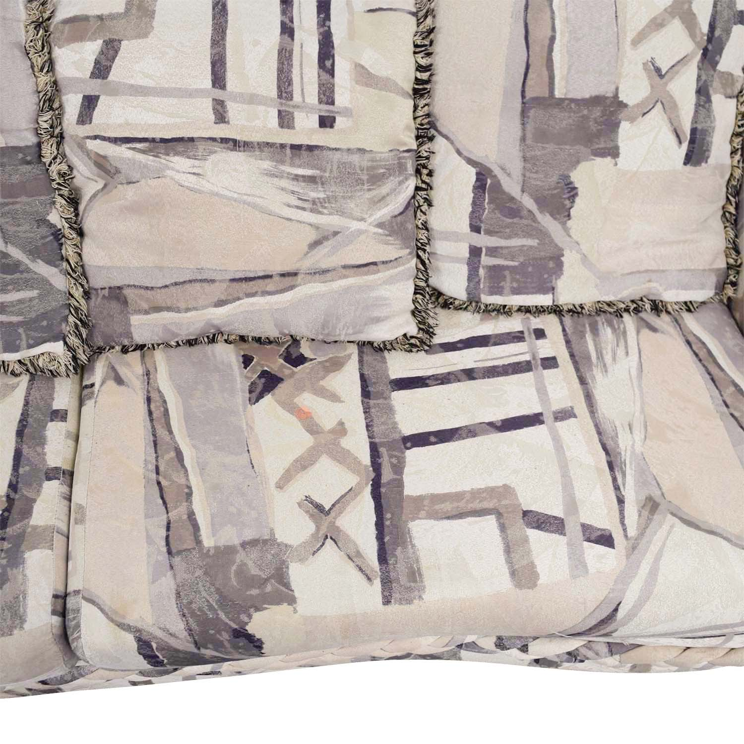 White Multi-Colored Two-Cushion Couch
