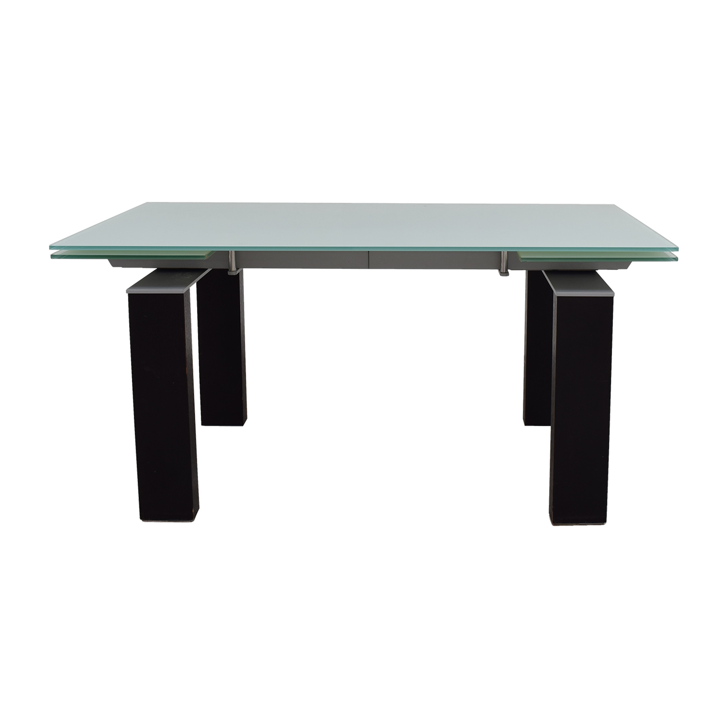 Bontempi Glass Top with Black and Silver Base Table / Coffee Tables