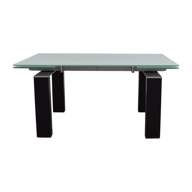 Bontempi Bontempi Glass Top with Black and Silver Base Table nj