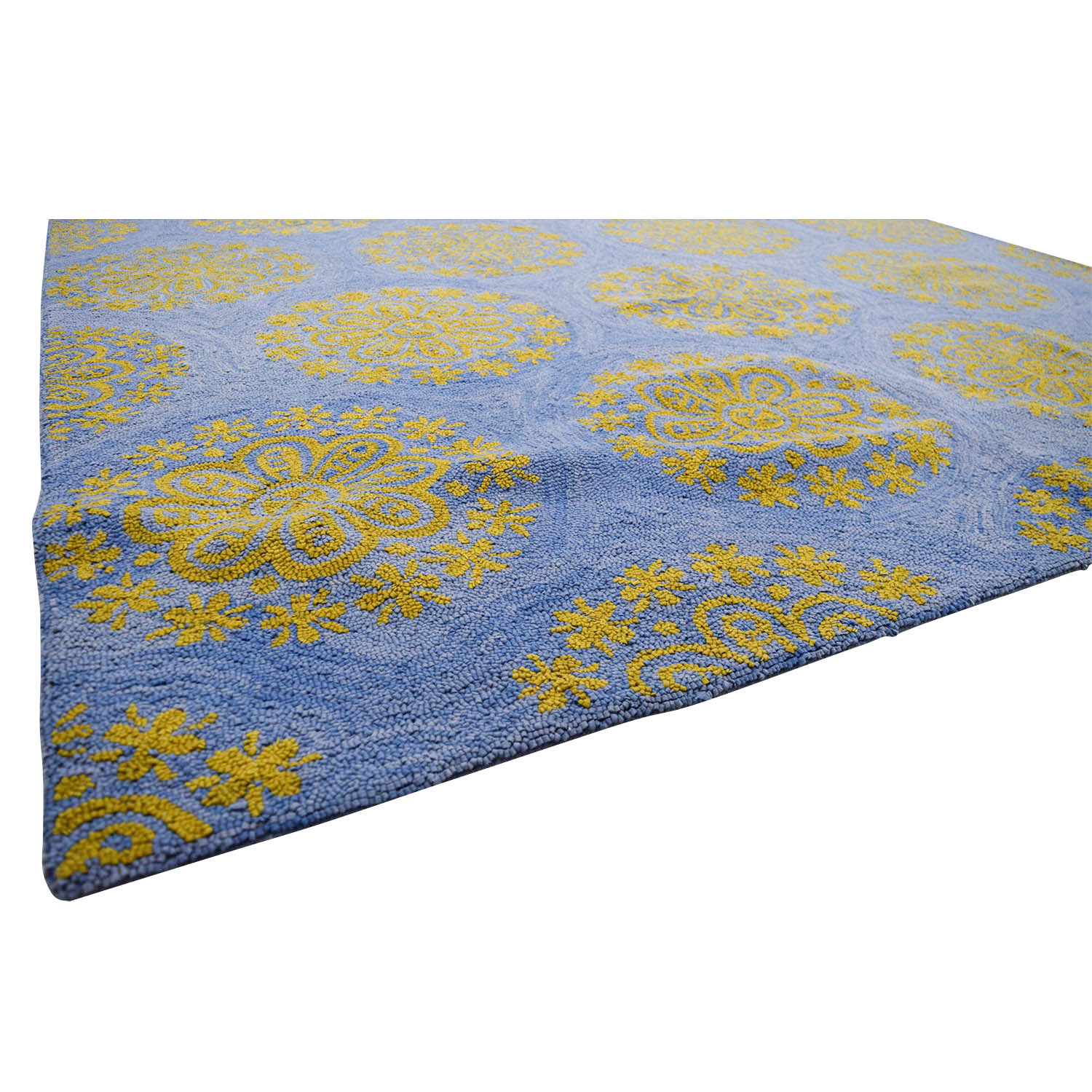 Obeetee Obeetee Hand Hooked Blue and Yellow Medallion Rug discount