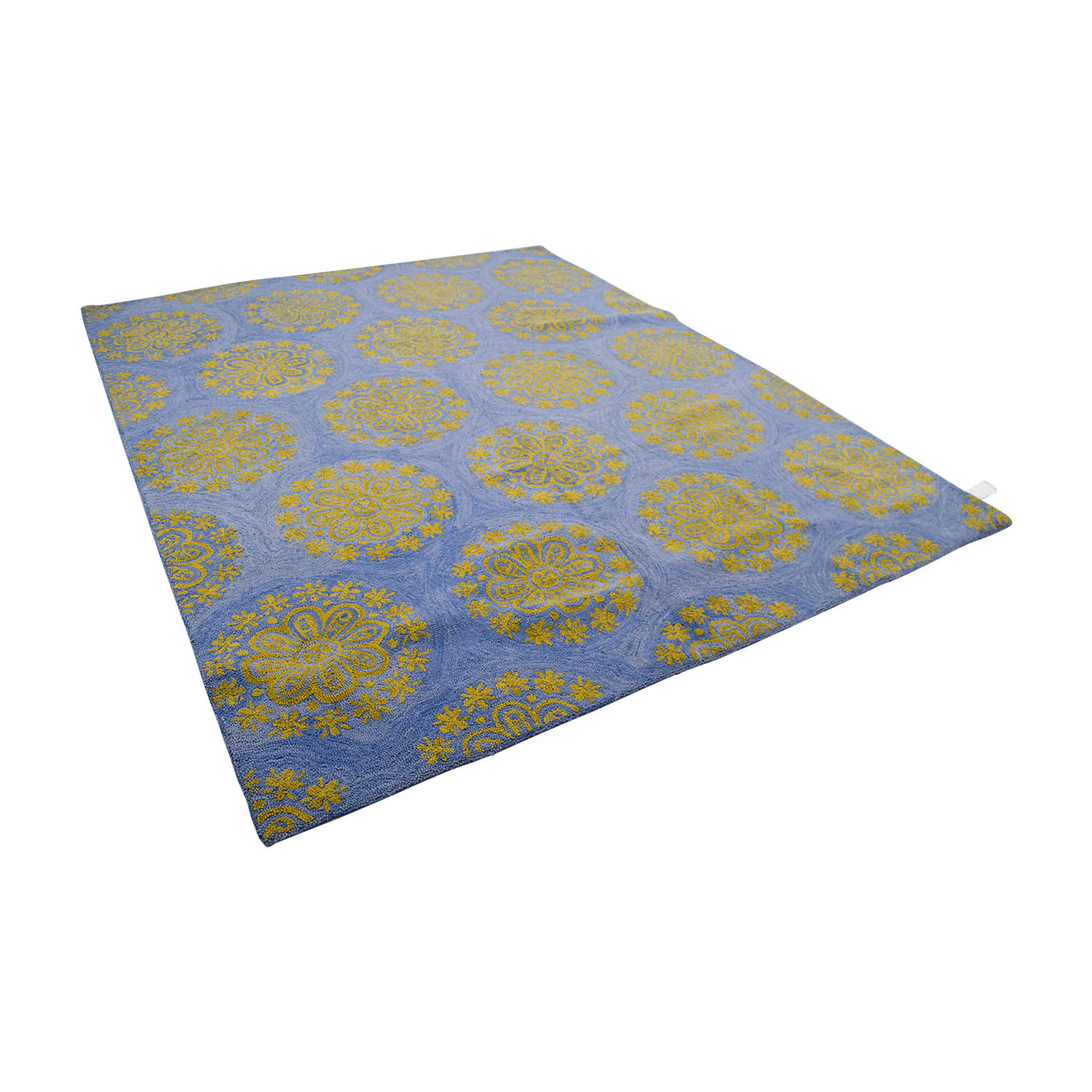 Obeetee Obeetee Hand Hooked Blue and Yellow Medallion Rug nyc