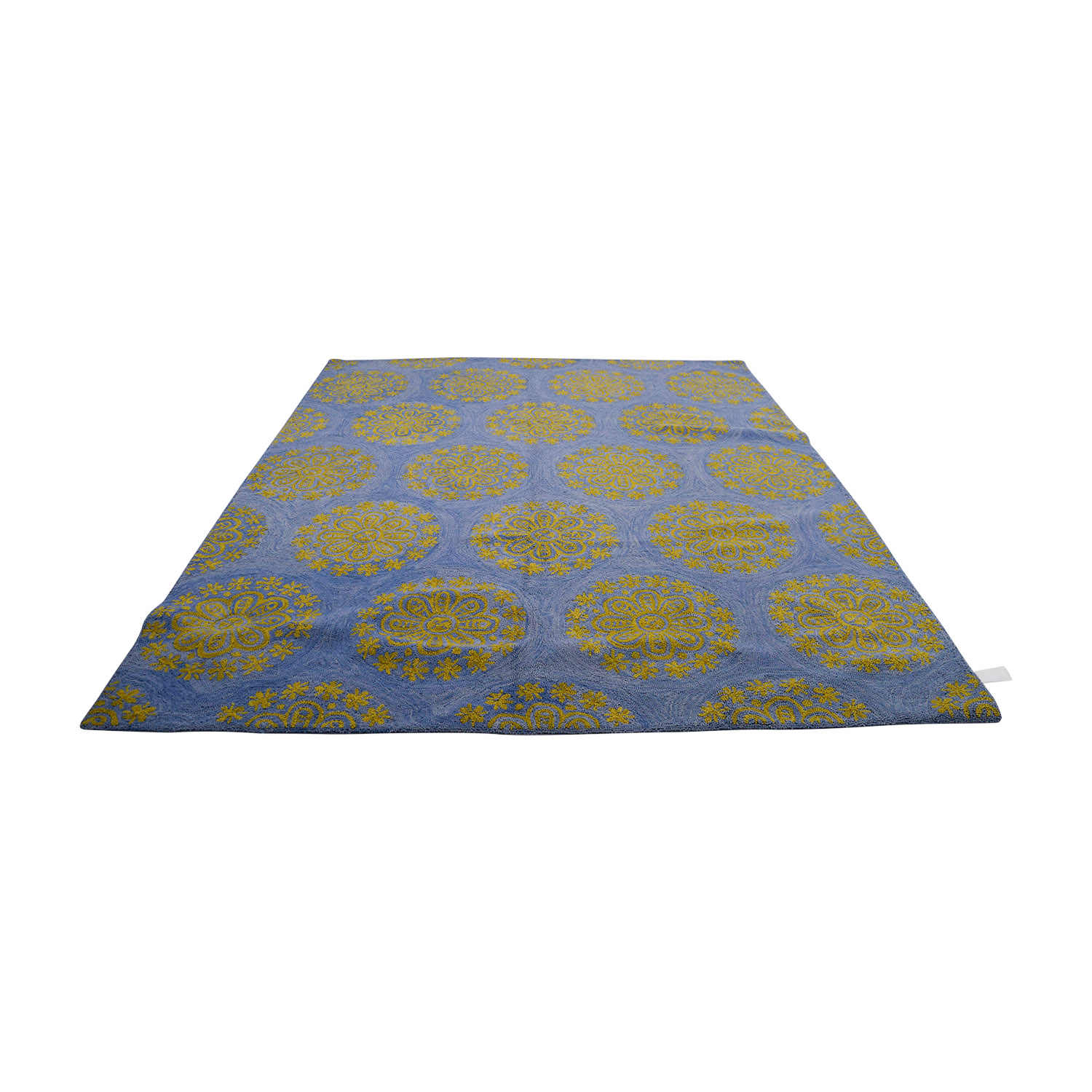 Obeetee Hand Hooked Blue and Yellow Medallion Rug / Rugs