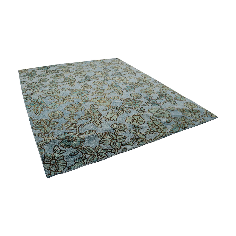 Obeetee Blue Brown Floral Rug sale