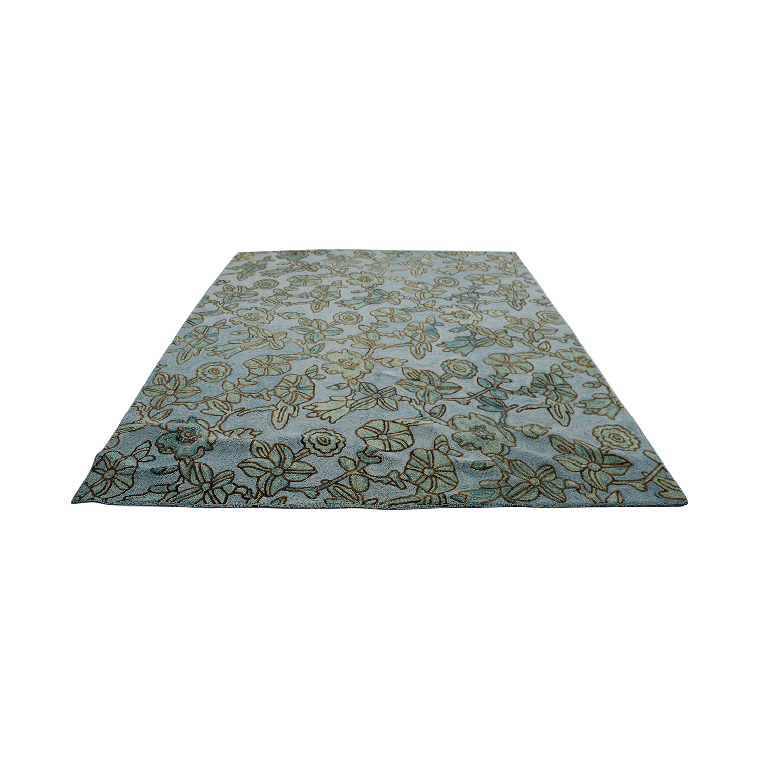 buy Obeetee Blue Brown Floral Rug Obeetee Decor