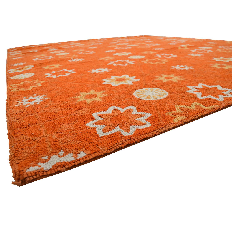 buy Obeetee Orange White Floral Rug Obeetee