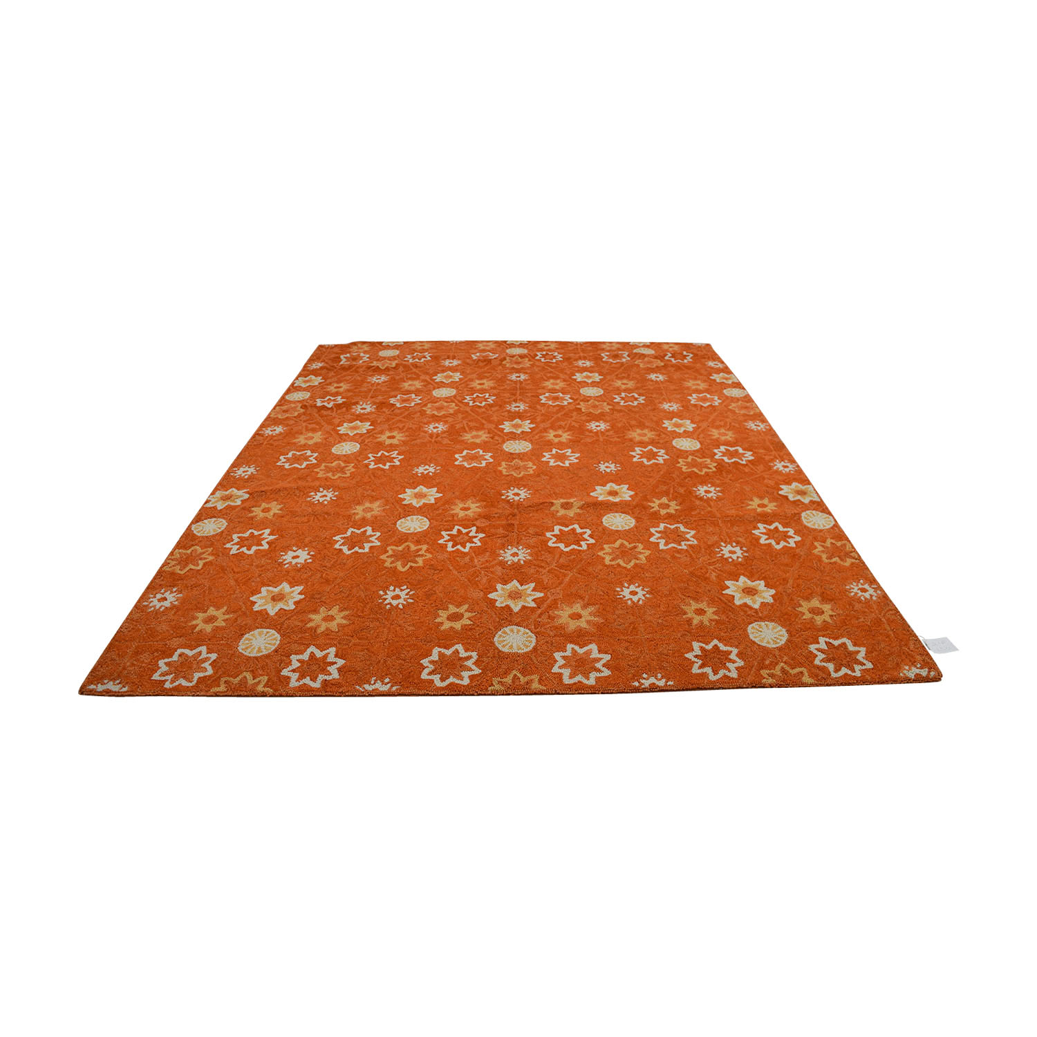 buy Obeetee Orange White Floral Rug Obeetee Decor