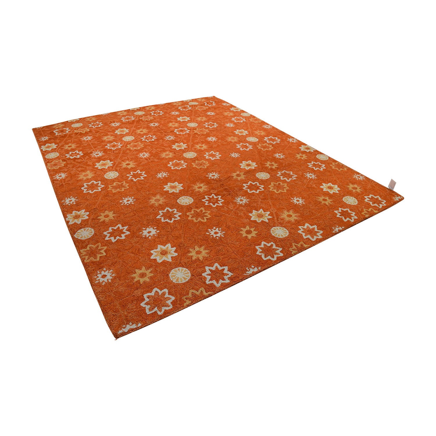 buy Obeetee Orange White Floral Rug Obeetee