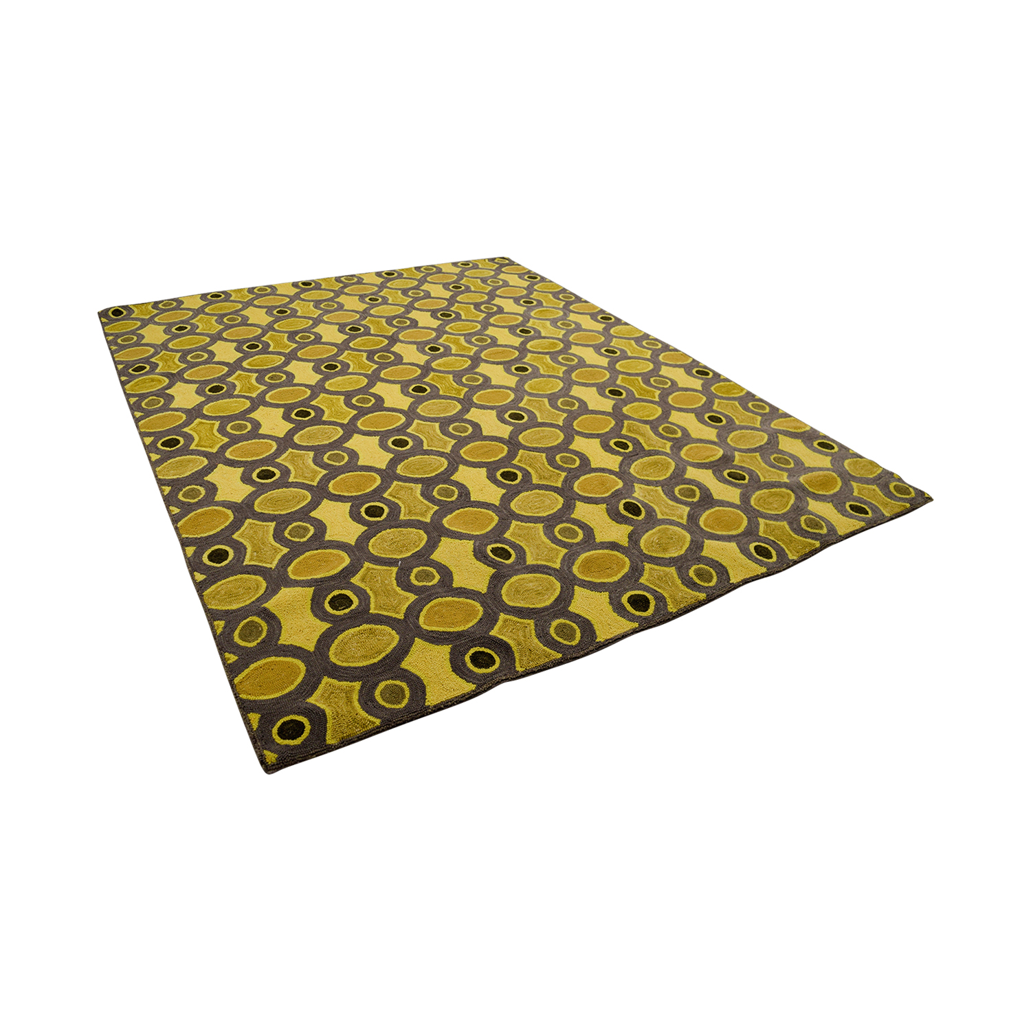 Obeetee Obeetee Hand Hooked Yellow Grey Rug coupon