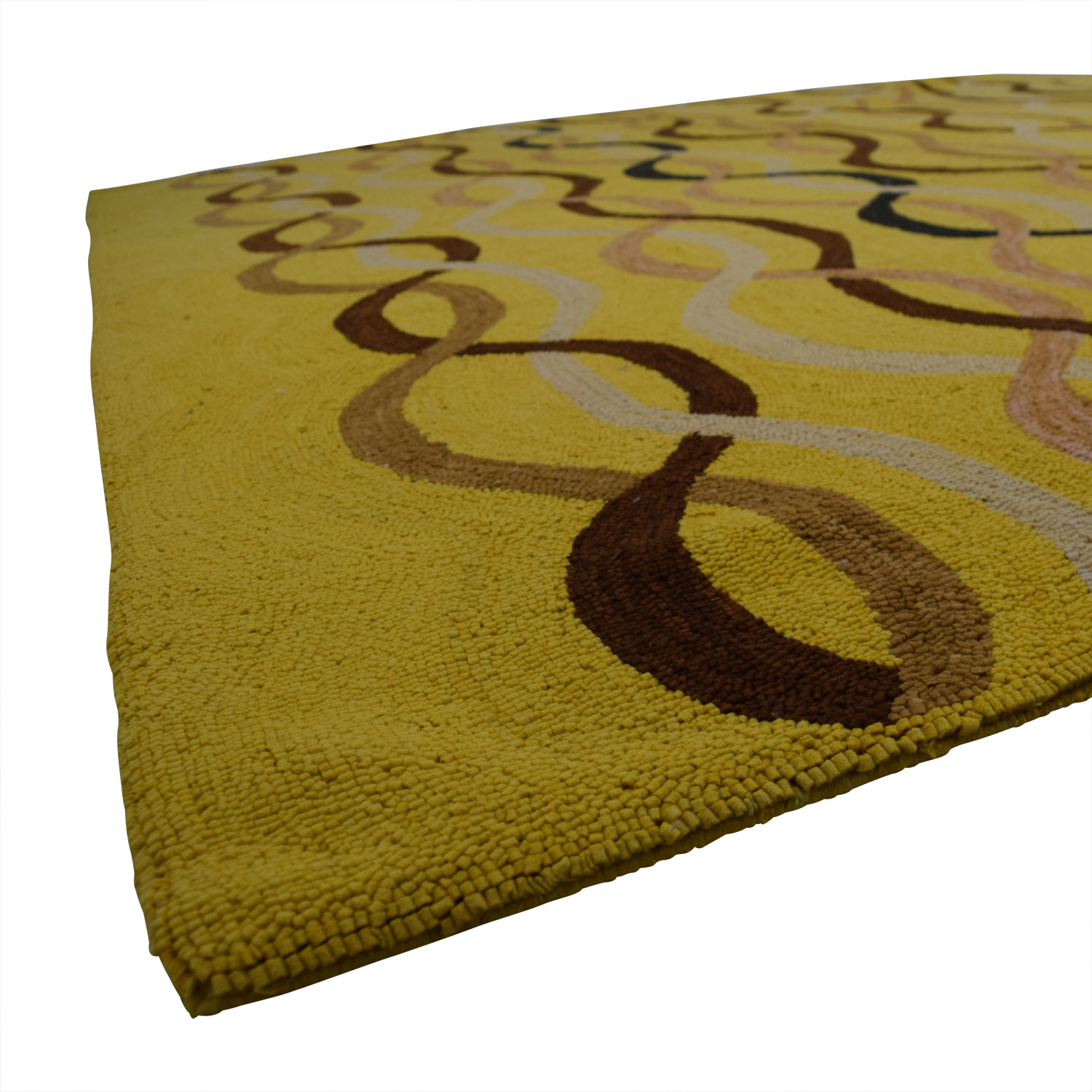 shop ObeeteeHand Hooked Yellow Brown Wavy Lines Rug Obeetee Rugs