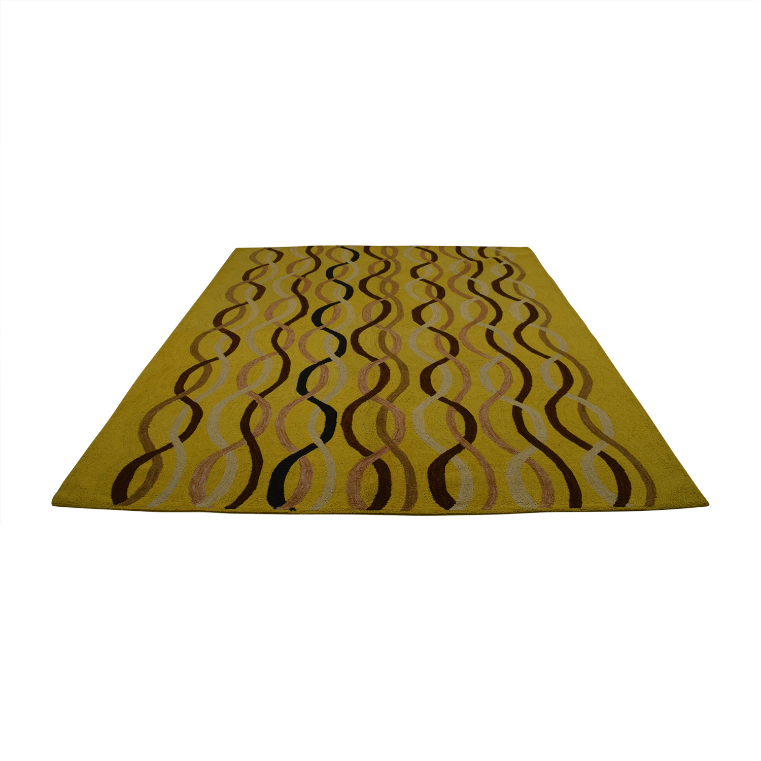 Obeetee ObeeteeHand Hooked Yellow Brown Wavy Lines Rug Yellow/Brown/White