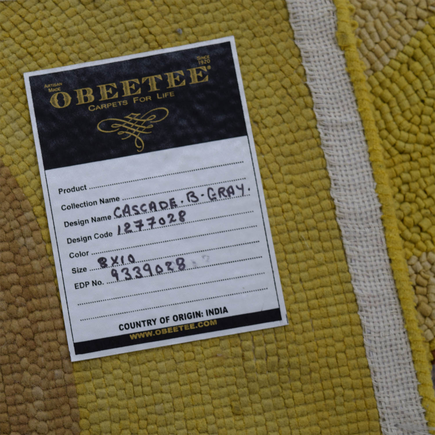 Obeetee ObeeteeHand Hooked Yellow Brown Wavy Lines Rug second hand