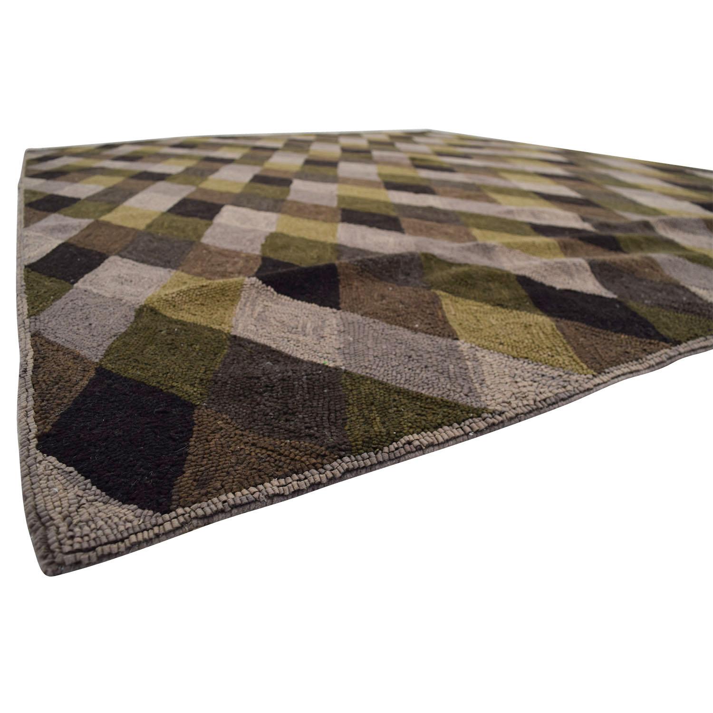 buy Obeetee Brown Grey Green Diamond Pattern Rug Obeetee Rugs