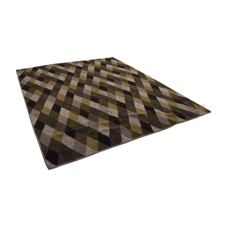 Obeetee Obeetee Brown Grey Green Diamond Pattern Rug Decor