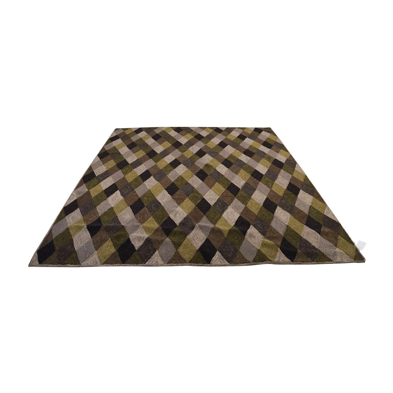 Obeetee Brown Grey Green Diamond Pattern Rug / Decor