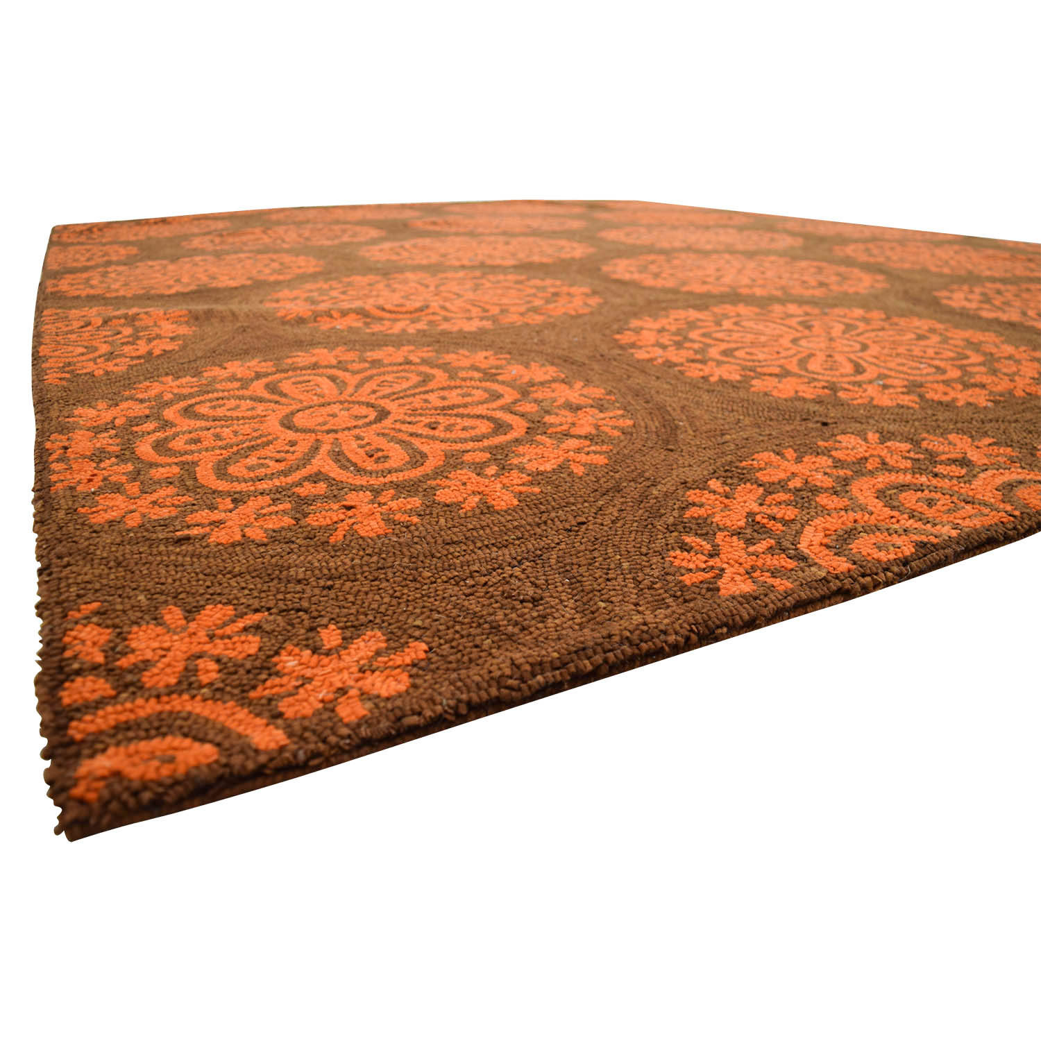 Obeetee Obeetee Brown and Orange Floral Mediallion Rug for sale