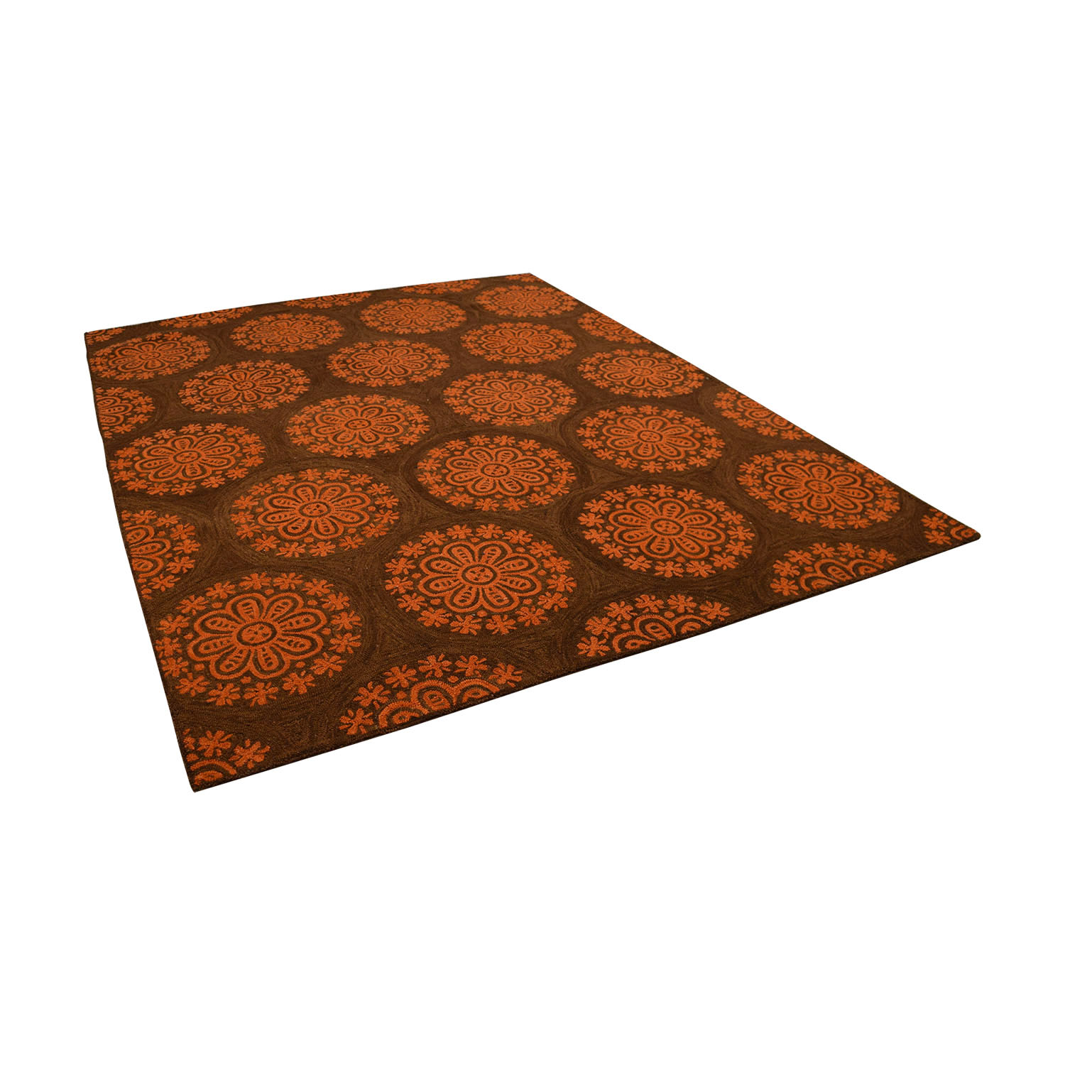 shop Obeetee Brown and Orange Floral Mediallion Rug Obeetee Decor