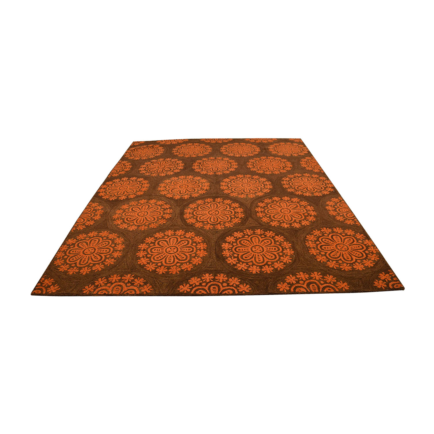Obeetee Brown and Orange Floral Mediallion Rug Obeetee