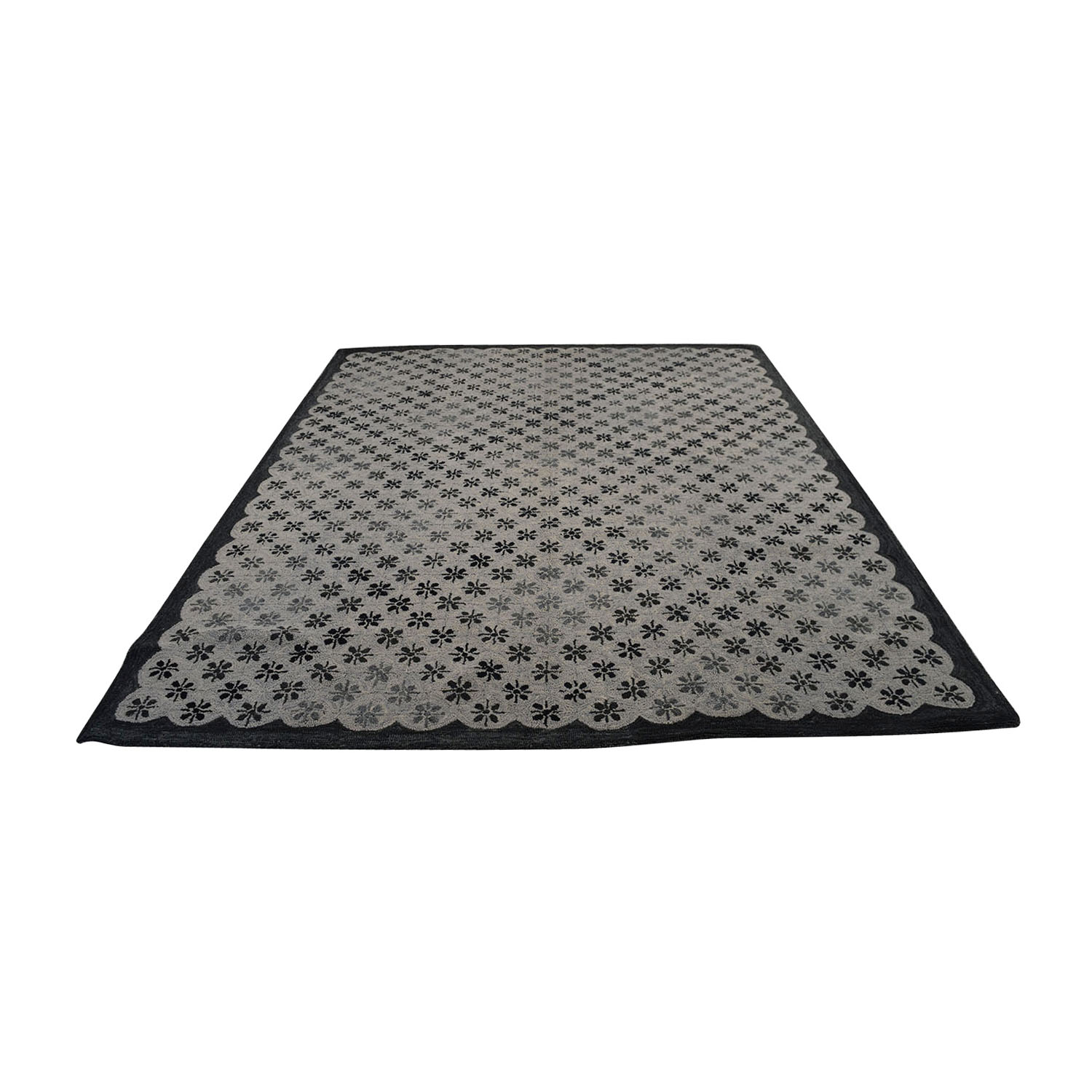 Obeetee Obeetee Gray and Black Asterisk Rug on sale