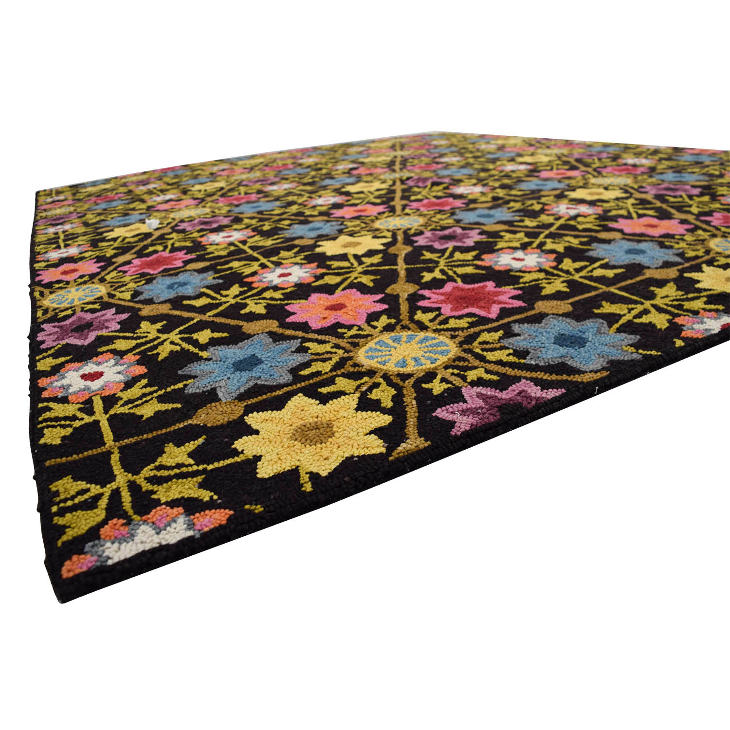 Obeetee Obeetee Black with Multi-Colored Floral Rug second hand