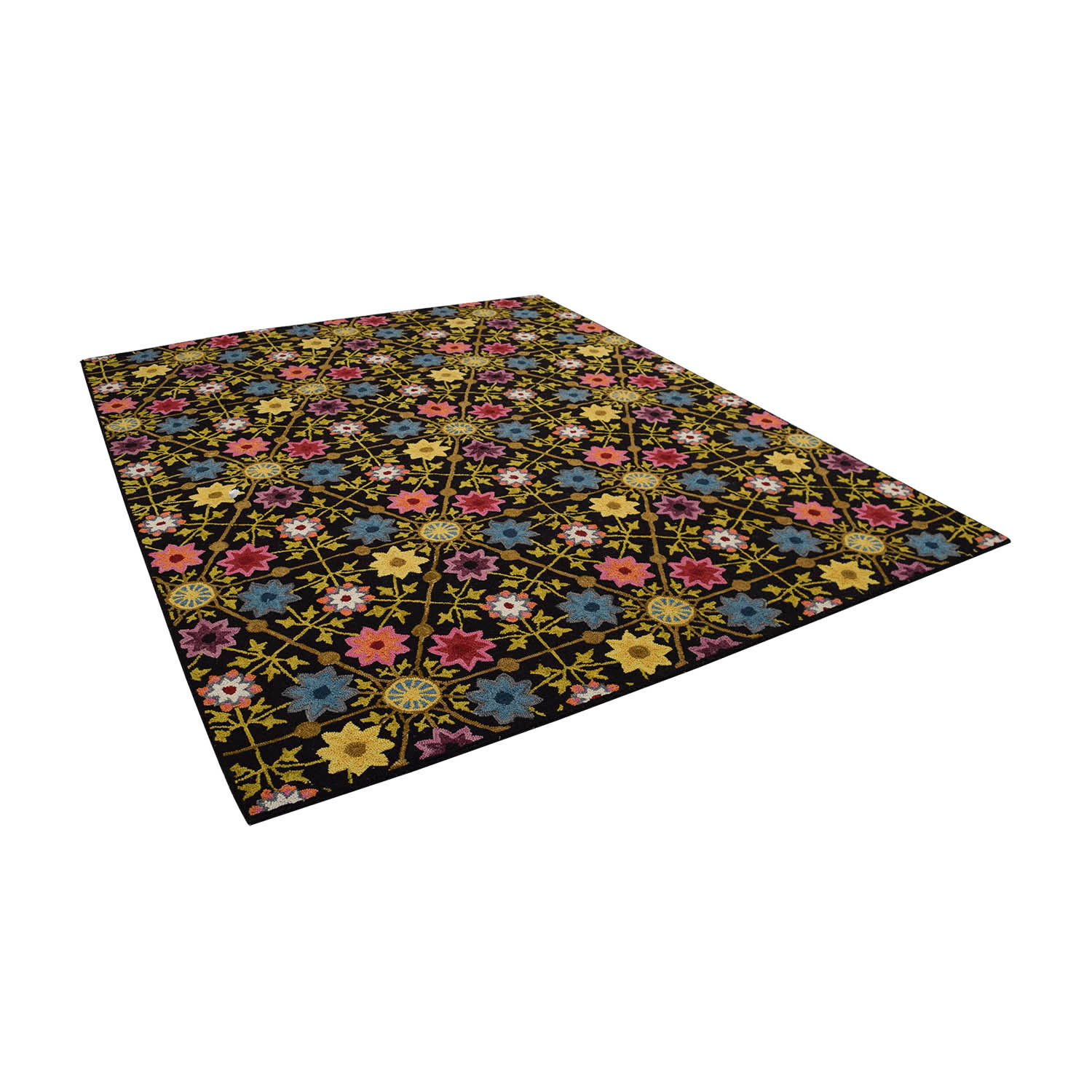 Obeetee Obeetee Black with Multi-Colored Floral Rug nj