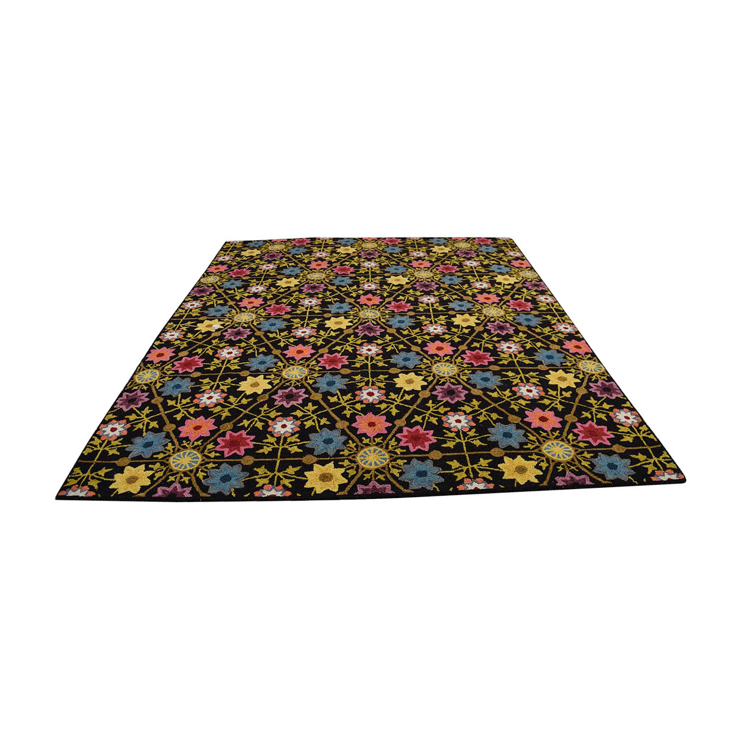 buy Obeetee Obeetee Black with Multi-Colored Floral Rug online